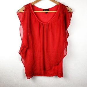 AB Studio | Red Flowy Layered Womens Blouse Large